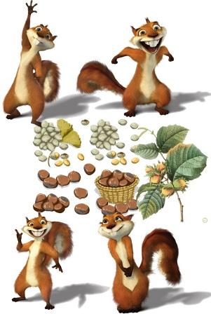 Клипарт Белка и орехи