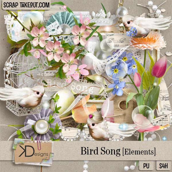 Скрап-набор Весенние птички скачать бесплатно