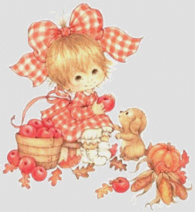 схема Девочка с яблоками