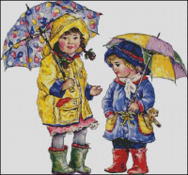 Схема - Девочки с зонтиками