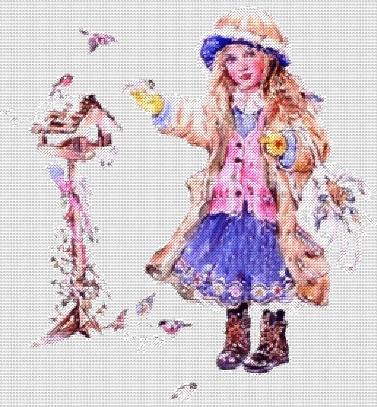 схема Девочка зимой