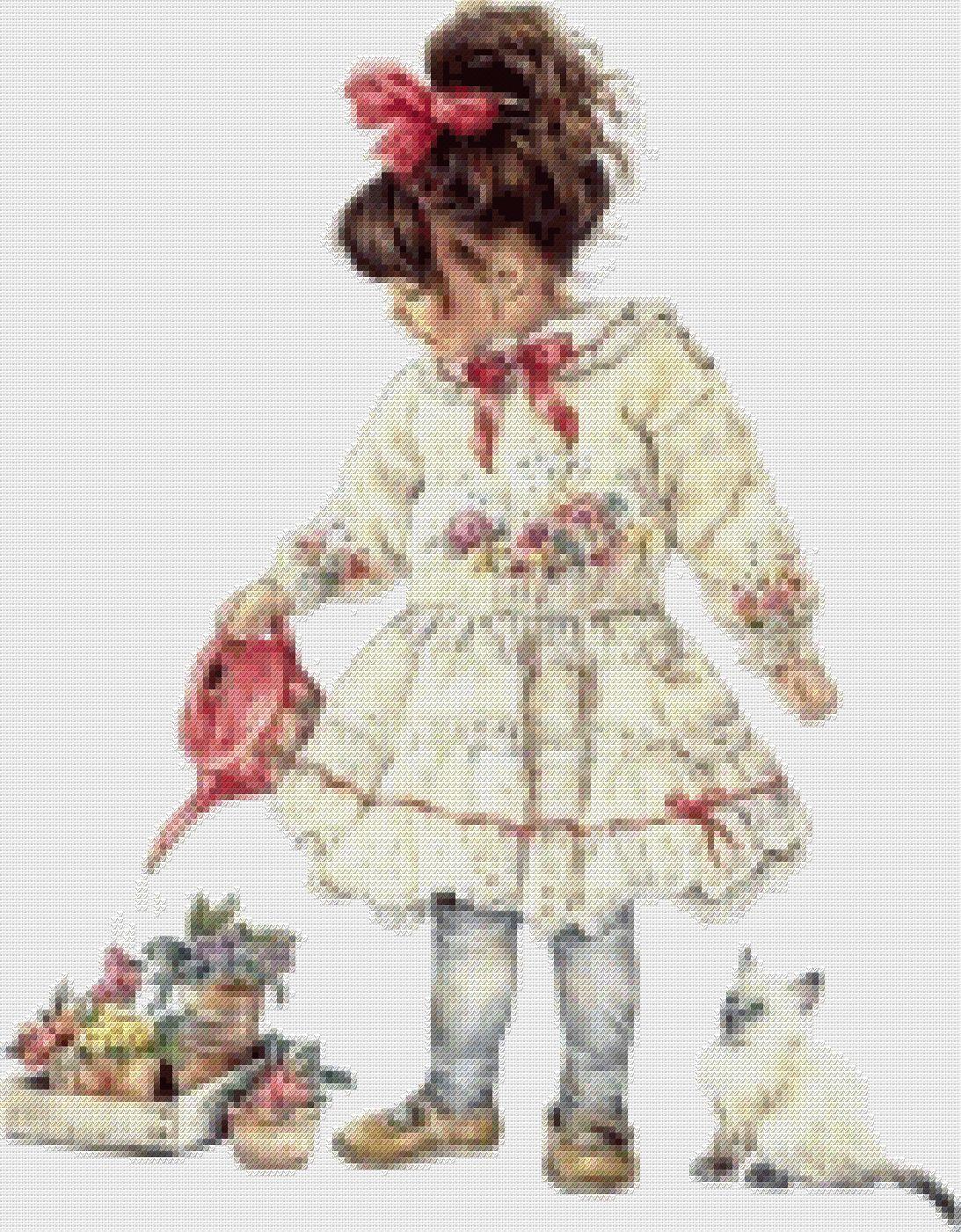 схема Девочка с котенком