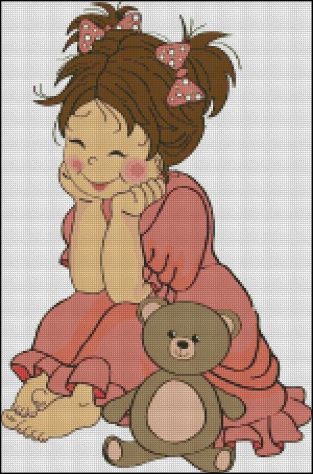 Схема - Девочка с мишкой