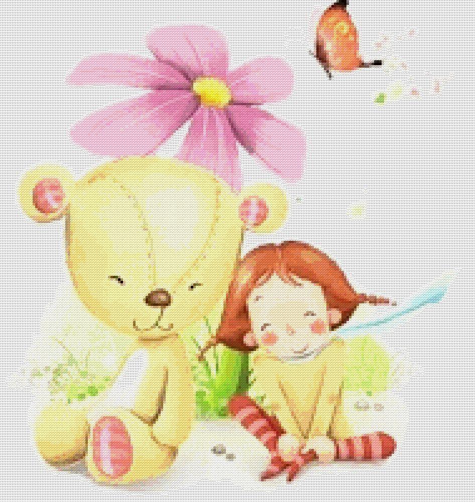 схема Девочка с игрушечным мишкой