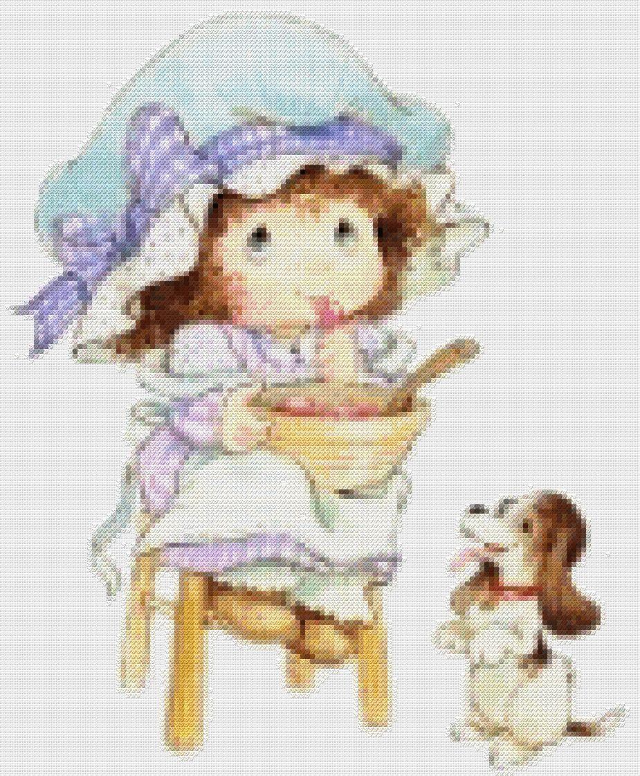 схема Девочка и щенок