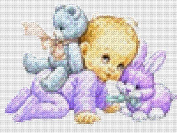 схема Младенец с игрушками