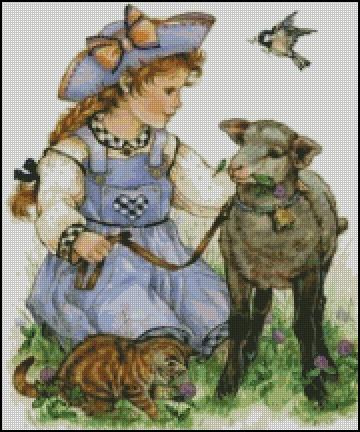 Схема - Девочка с барашком