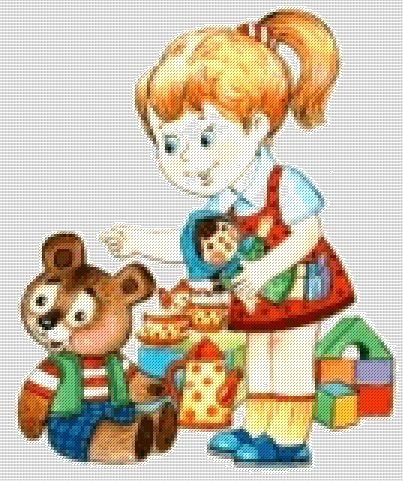 Схема - Девочка с игрушками