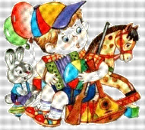 Схема - Мальчик с игрушками